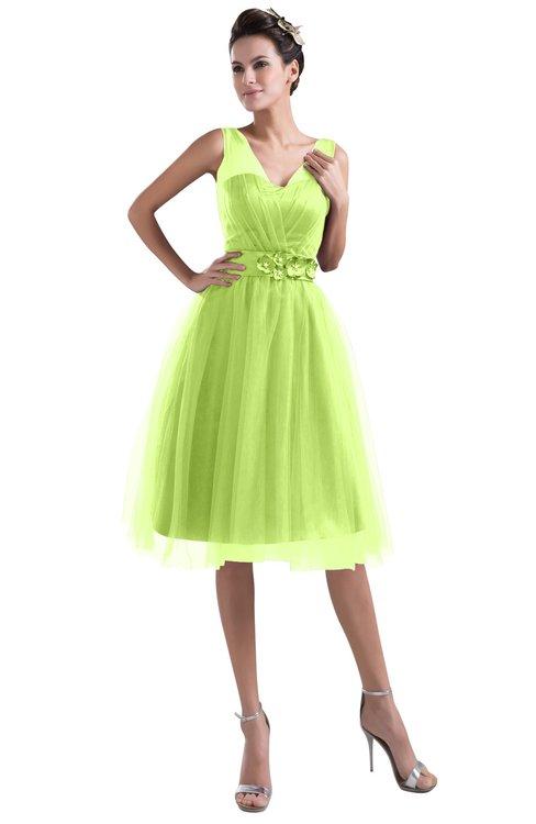 ColsBM Ashley Lime Green Plain Illusion Zipper Knee Length Flower Plus Size Bridesmaid Dresses