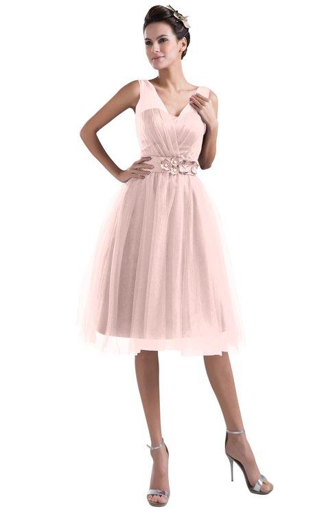 ColsBM Ashley Pastel Pink Plain Illusion Zipper Knee Length Flower Plus Size Bridesmaid Dresses