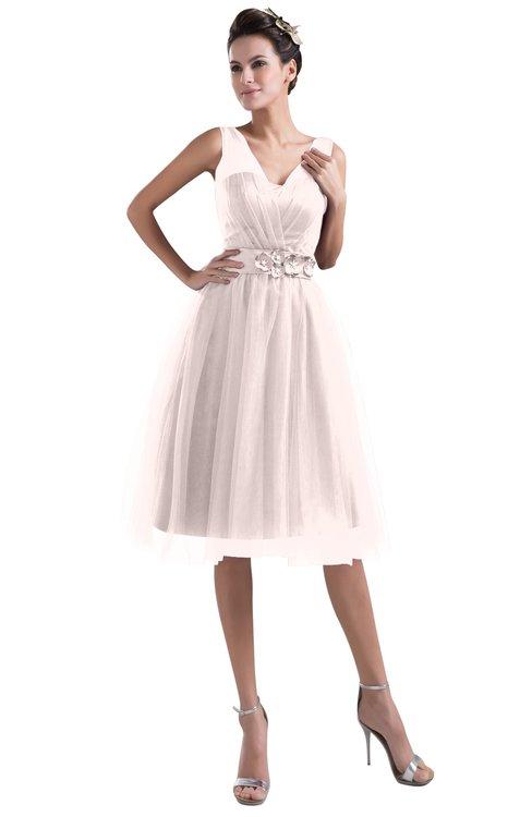 ColsBM Ashley Petal Pink Plain Illusion Zipper Knee Length Flower Plus Size Bridesmaid Dresses