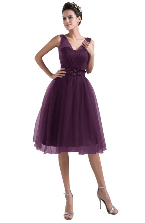 ColsBM Ashley Plum Plain Illusion Zipper Knee Length Flower Plus Size Bridesmaid Dresses