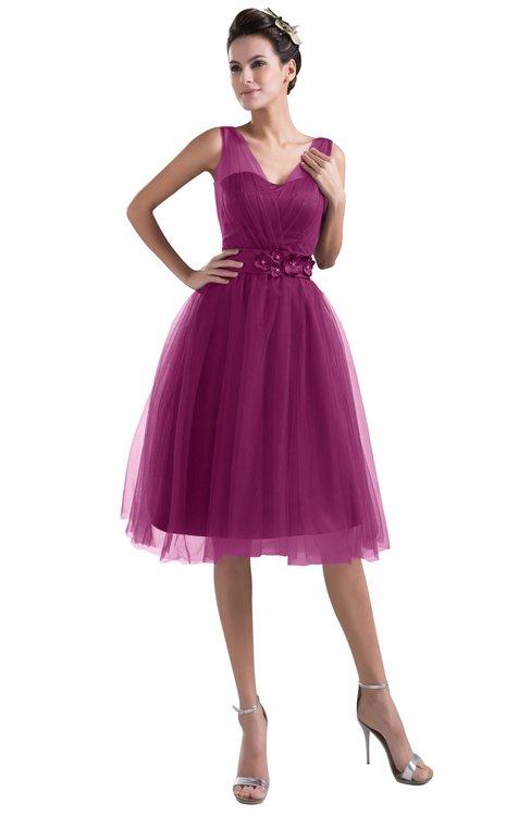 ColsBM Ashley Raspberry Plain Illusion Zipper Knee Length Flower Plus Size Bridesmaid Dresses