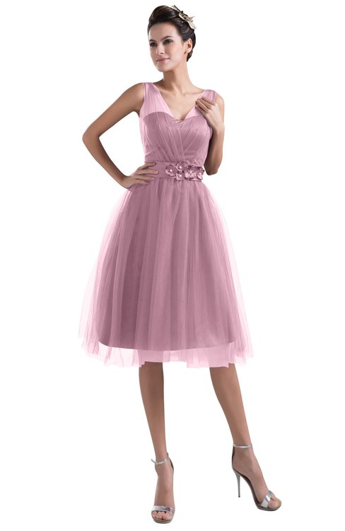 ColsBM Ashley Silver Pink Plain Illusion Zipper Knee Length Flower Plus Size Bridesmaid Dresses