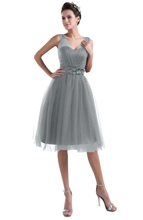 ColsBM Ashley Silver Sconce Plain Illusion Zipper Knee Length Flower Plus Size Bridesmaid Dresses