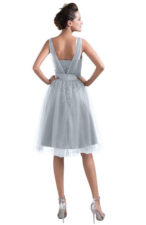 69562ba617a ... ColsBM Ashley Silver Plain Illusion Zipper Knee Length Flower Plus Size  Bridesmaid Dresses