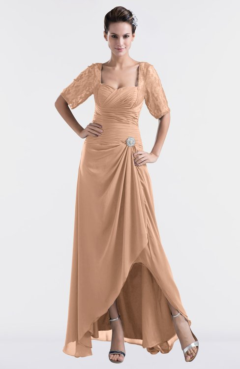 ColsBM Emilia Almost Apricot Modest Sweetheart Short Sleeve Zip up Floor Length Plus Size Bridesmaid Dresses