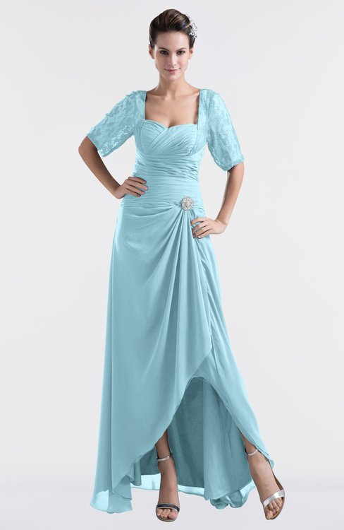 ColsBM Emilia Aqua Modest Sweetheart Short Sleeve Zip up Floor Length Plus Size Bridesmaid Dresses