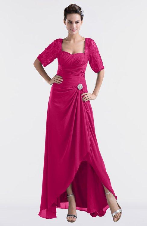 ColsBM Emilia Beetroot Purple Modest Sweetheart Short Sleeve Zip up Floor Length Plus Size Bridesmaid Dresses