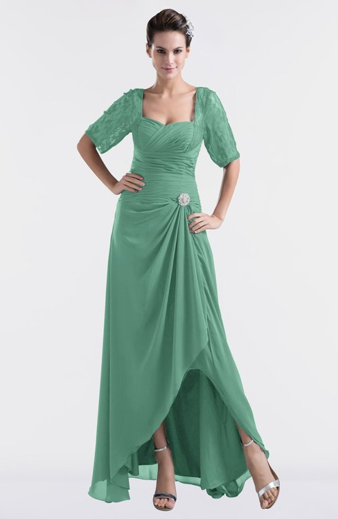 ColsBM Emilia Beryl Green Modest Sweetheart Short Sleeve Zip up Floor Length Plus Size Bridesmaid Dresses
