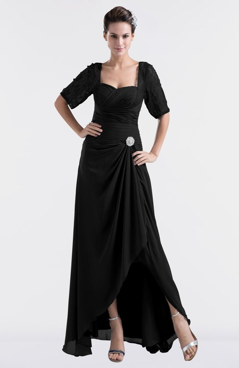 ColsBM Emilia Black Modest Sweetheart Short Sleeve Zip up Floor Length Plus Size Bridesmaid Dresses