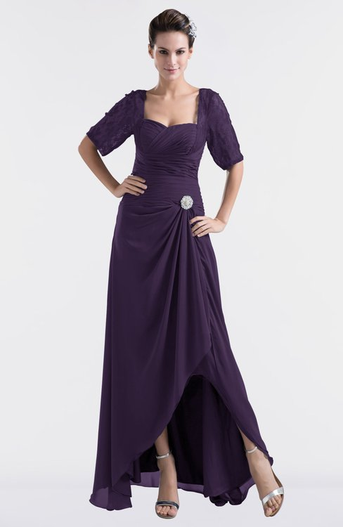 ColsBM Emilia Blackberry Cordial Modest Sweetheart Short Sleeve Zip up Floor Length Plus Size Bridesmaid Dresses