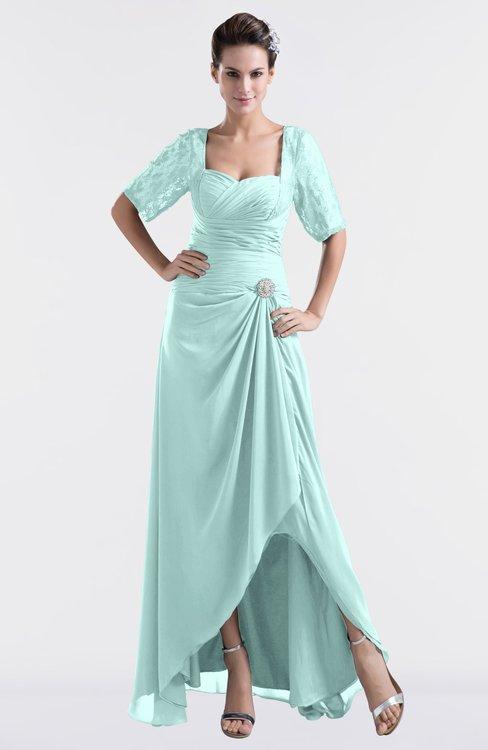 ColsBM Emilia Blue Glass Modest Sweetheart Short Sleeve Zip up Floor Length Plus Size Bridesmaid Dresses