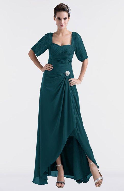 ColsBM Emilia Blue Green Modest Sweetheart Short Sleeve Zip up Floor Length Plus Size Bridesmaid Dresses