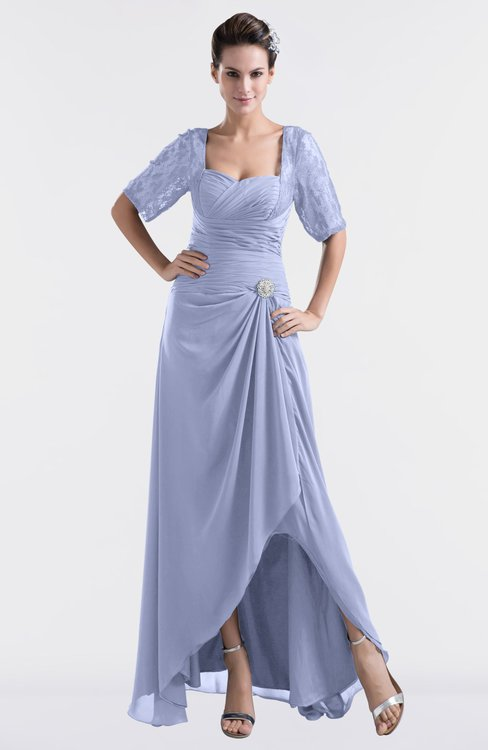 ColsBM Emilia Blue Heron Modest Sweetheart Short Sleeve Zip up Floor Length Plus Size Bridesmaid Dresses