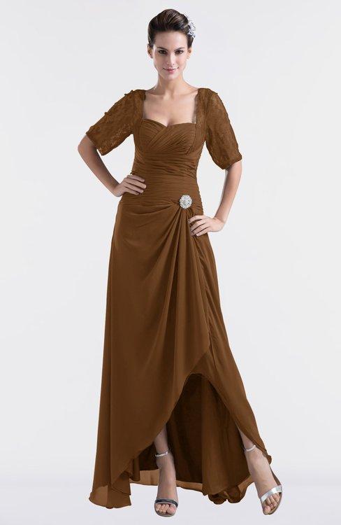ColsBM Emilia Brown Modest Sweetheart Short Sleeve Zip up Floor Length Plus Size Bridesmaid Dresses