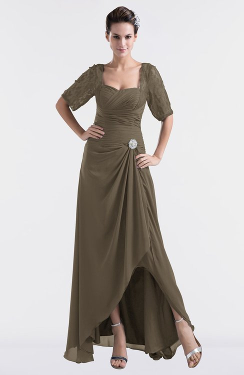 ColsBM Emilia Carafe Brown Modest Sweetheart Short Sleeve Zip up Floor Length Plus Size Bridesmaid Dresses