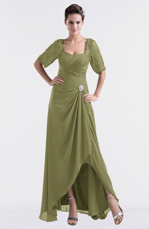ColsBM Emilia Cedar Modest Sweetheart Short Sleeve Zip up Floor Length Plus Size Bridesmaid Dresses