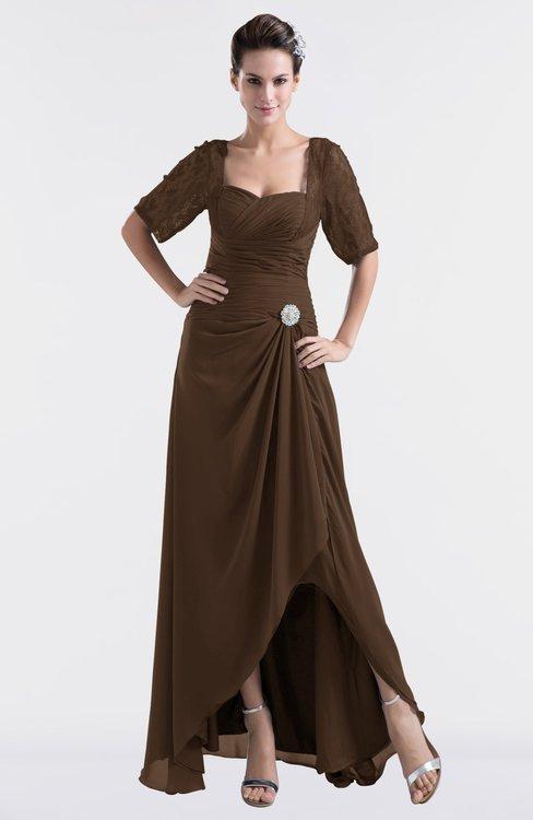 ColsBM Emilia Chocolate Brown Modest Sweetheart Short Sleeve Zip up Floor Length Plus Size Bridesmaid Dresses