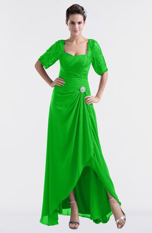 ColsBM Emilia Classic Green Modest Sweetheart Short Sleeve Zip up Floor Length Plus Size Bridesmaid Dresses