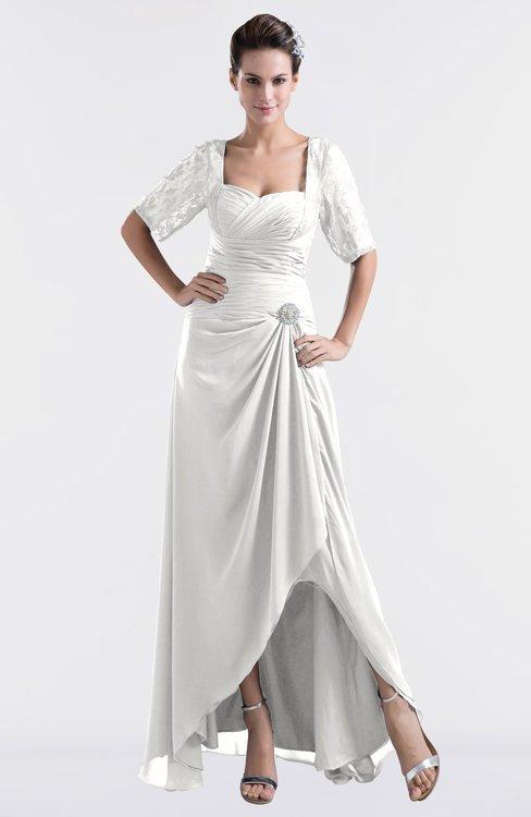 ColsBM Emilia Cloud White Modest Sweetheart Short Sleeve Zip up Floor Length Plus Size Bridesmaid Dresses