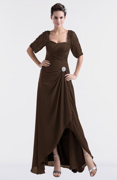 ColsBM Emilia Copper Modest Sweetheart Short Sleeve Zip up Floor Length Plus Size Bridesmaid Dresses
