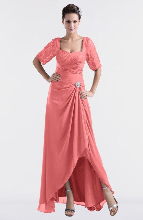 ColsBM Emilia Coral Modest Sweetheart Short Sleeve Zip up Floor Length Plus Size Bridesmaid Dresses