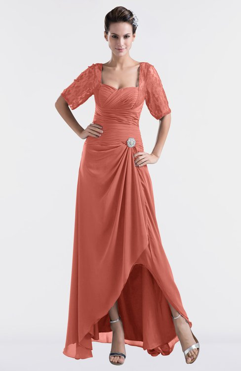 ColsBM Emilia Crabapple Modest Sweetheart Short Sleeve Zip up Floor Length Plus Size Bridesmaid Dresses