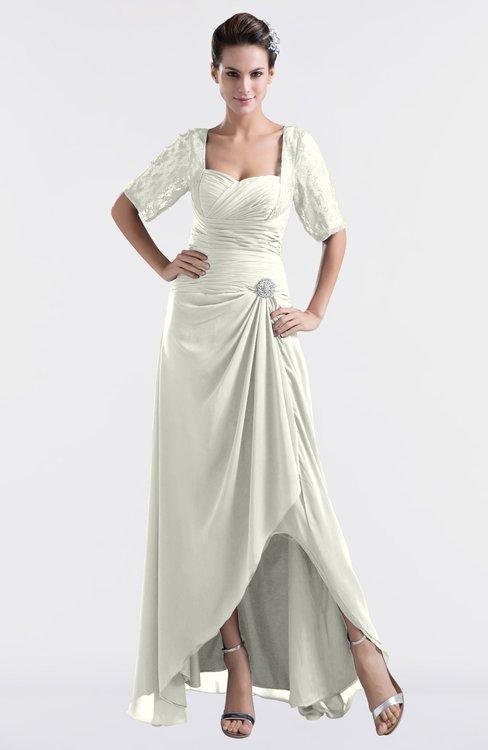 ColsBM Emilia Cream Modest Sweetheart Short Sleeve Zip up Floor Length Plus Size Bridesmaid Dresses