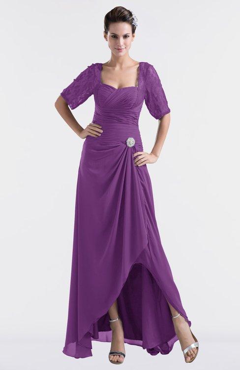 ColsBM Emilia Dahlia Modest Sweetheart Short Sleeve Zip up Floor Length Plus Size Bridesmaid Dresses