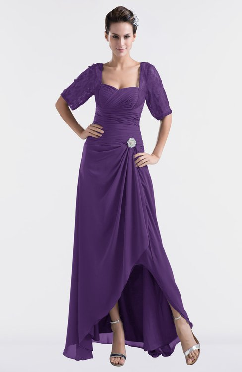 ColsBM Emilia Dark Purple Modest Sweetheart Short Sleeve Zip up Floor Length Plus Size Bridesmaid Dresses