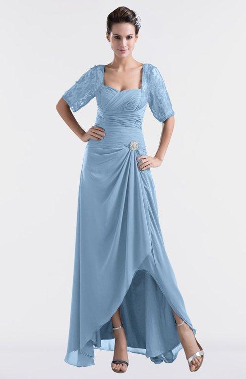 ColsBM Emilia Dusty Blue Modest Sweetheart Short Sleeve Zip up Floor Length Plus Size Bridesmaid Dresses
