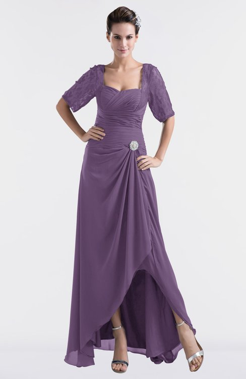 ColsBM Emilia Eggplant Modest Sweetheart Short Sleeve Zip up Floor Length Plus Size Bridesmaid Dresses
