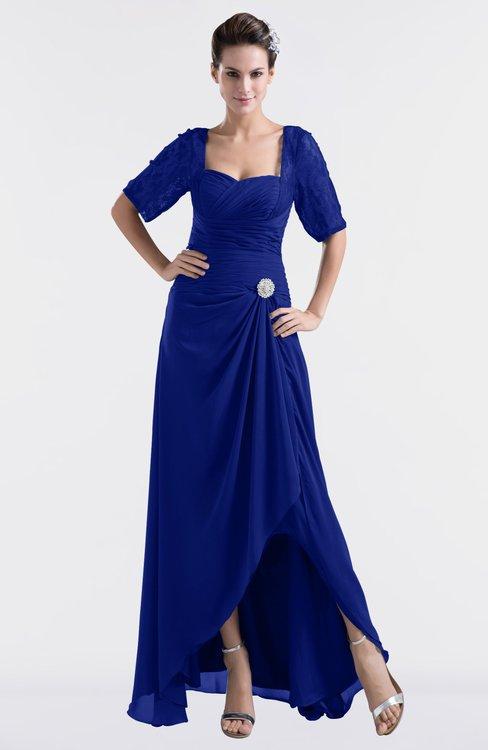 ColsBM Emilia Electric Blue Modest Sweetheart Short Sleeve Zip up Floor Length Plus Size Bridesmaid Dresses