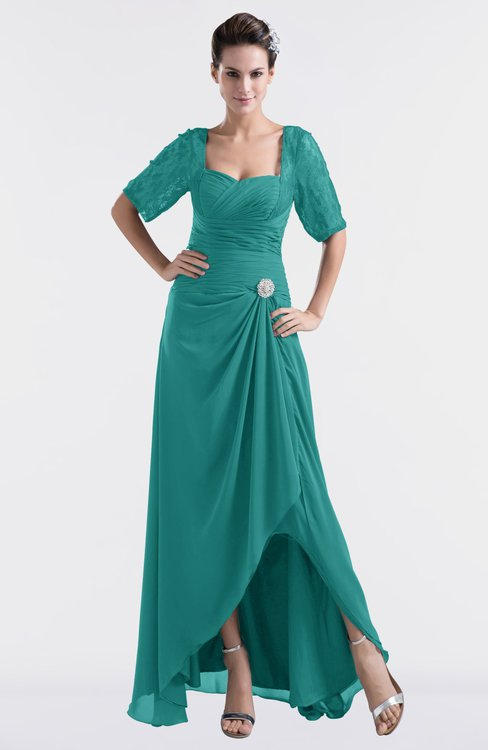 ColsBM Emilia Emerald Green Modest Sweetheart Short Sleeve Zip up Floor Length Plus Size Bridesmaid Dresses