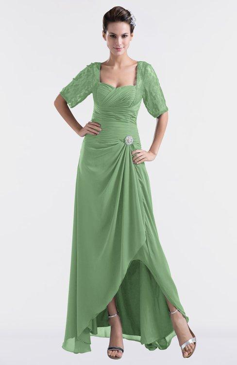 ColsBM Emilia Fair Green Modest Sweetheart Short Sleeve Zip up Floor Length Plus Size Bridesmaid Dresses
