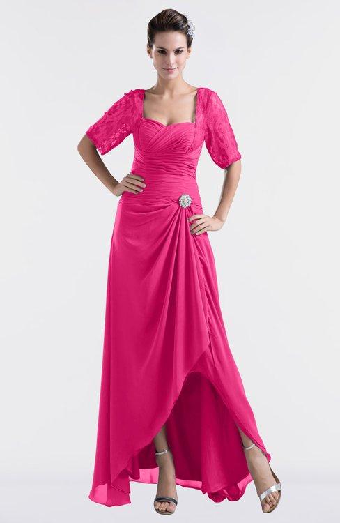 ColsBM Emilia Fandango Pink Modest Sweetheart Short Sleeve Zip up Floor Length Plus Size Bridesmaid Dresses