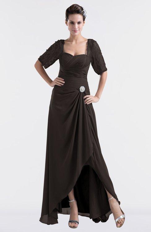 ColsBM Emilia Fudge Brown Modest Sweetheart Short Sleeve Zip up Floor Length Plus Size Bridesmaid Dresses