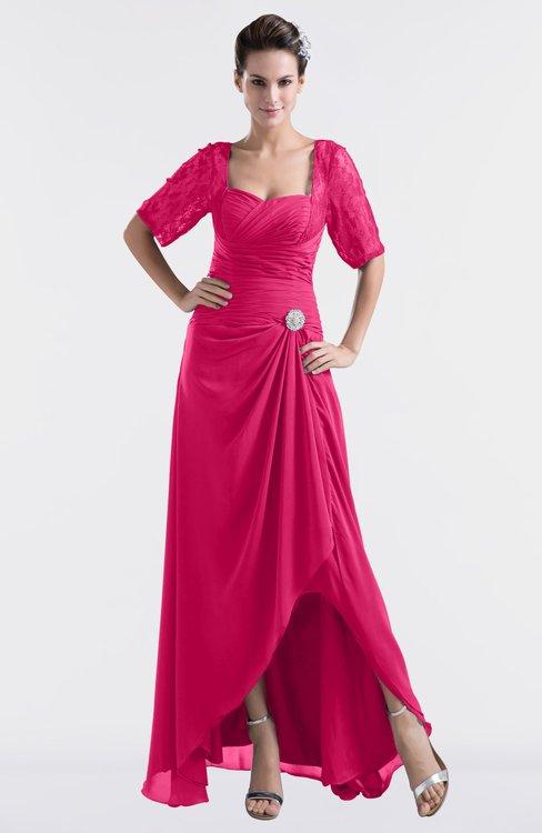 ColsBM Emilia Fuschia Modest Sweetheart Short Sleeve Zip up Floor Length Plus Size Bridesmaid Dresses