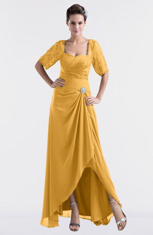 ColsBM Emilia Golden Cream Modest Sweetheart Short Sleeve Zip up Floor Length Plus Size Bridesmaid Dresses