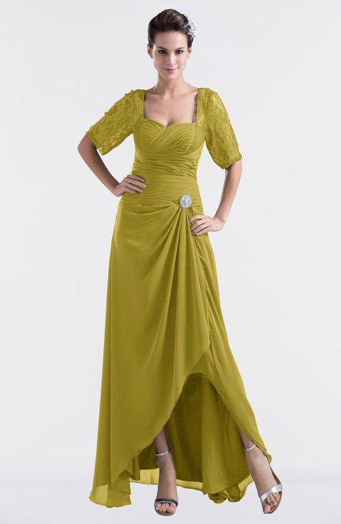 ColsBM Emilia Golden Olive Modest Sweetheart Short Sleeve Zip up Floor Length Plus Size Bridesmaid Dresses