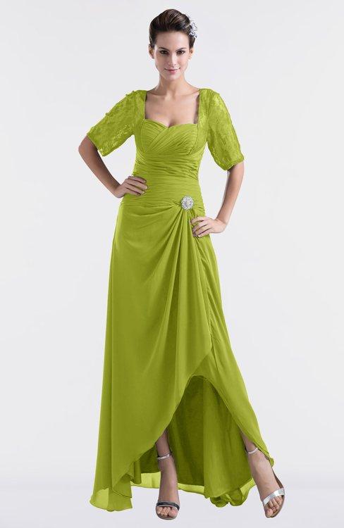 ColsBM Emilia Green Oasis Modest Sweetheart Short Sleeve Zip up Floor Length Plus Size Bridesmaid Dresses
