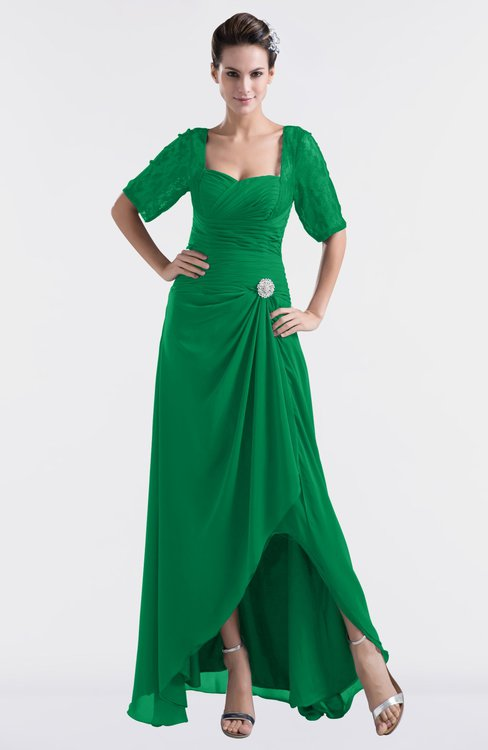 ColsBM Emilia Green Modest Sweetheart Short Sleeve Zip up Floor Length Plus Size Bridesmaid Dresses