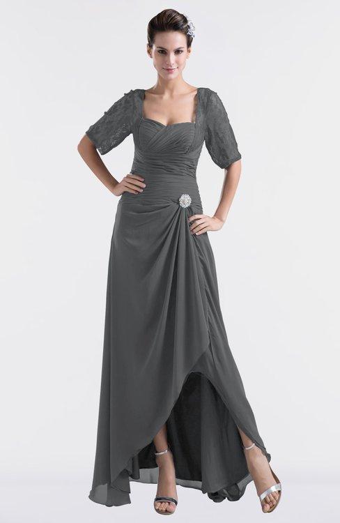 ColsBM Emilia Grey Modest Sweetheart Short Sleeve Zip up Floor Length Plus Size Bridesmaid Dresses