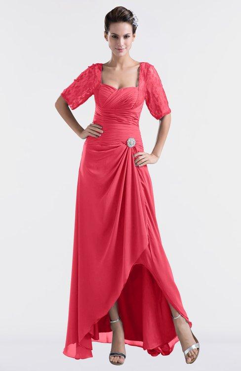 ColsBM Emilia Guava Modest Sweetheart Short Sleeve Zip up Floor Length Plus Size Bridesmaid Dresses