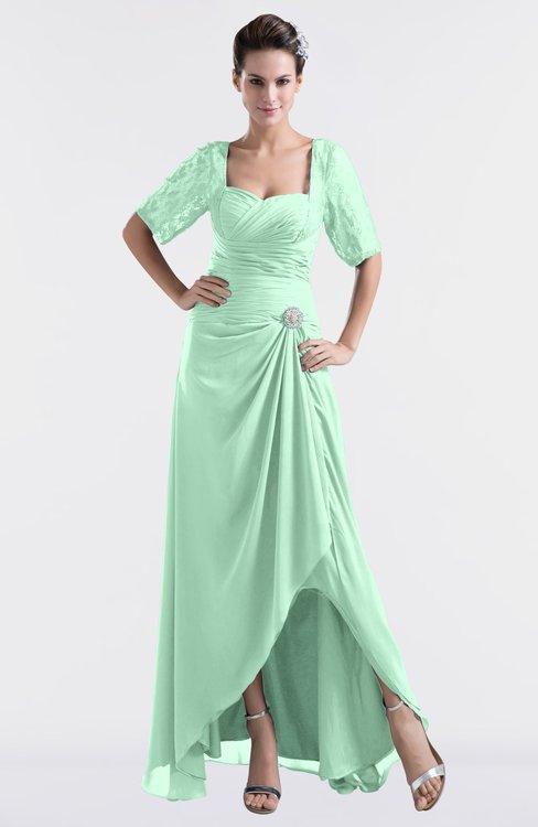 ColsBM Emilia Honeydew Modest Sweetheart Short Sleeve Zip up Floor Length Plus Size Bridesmaid Dresses
