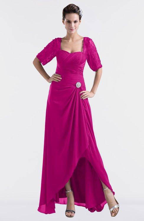 ColsBM Emilia Hot Pink Modest Sweetheart Short Sleeve Zip up Floor Length Plus Size Bridesmaid Dresses
