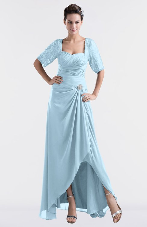 ColsBM Emilia Ice Blue Modest Sweetheart Short Sleeve Zip up Floor Length Plus Size Bridesmaid Dresses