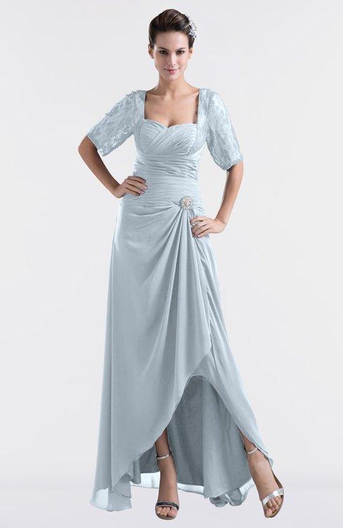 ColsBM Emilia Illusion Blue Modest Sweetheart Short Sleeve Zip up Floor Length Plus Size Bridesmaid Dresses