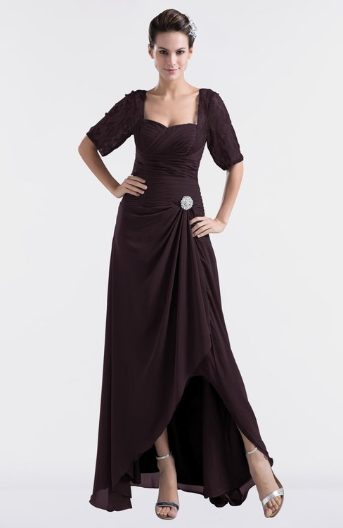 ColsBM Emilia Italian Plum Modest Sweetheart Short Sleeve Zip up Floor Length Plus Size Bridesmaid Dresses