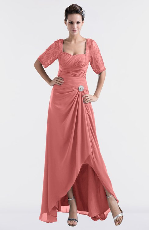 ColsBM Emilia Lantana Modest Sweetheart Short Sleeve Zip up Floor Length Plus Size Bridesmaid Dresses