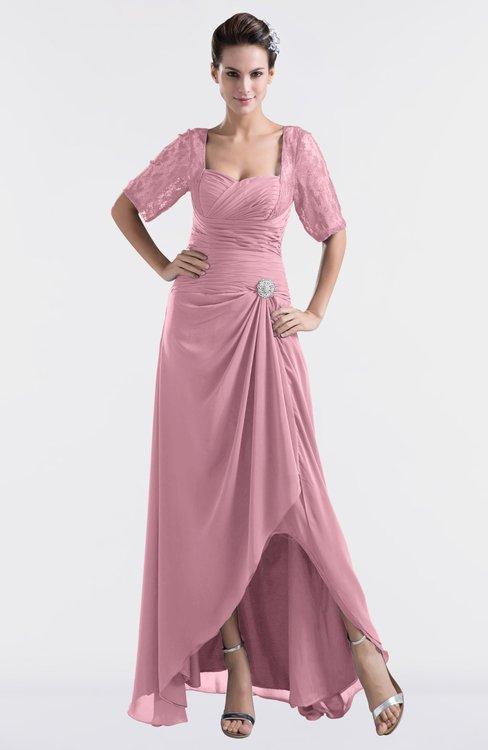 ColsBM Emilia Light Coral Modest Sweetheart Short Sleeve Zip up Floor Length Plus Size Bridesmaid Dresses